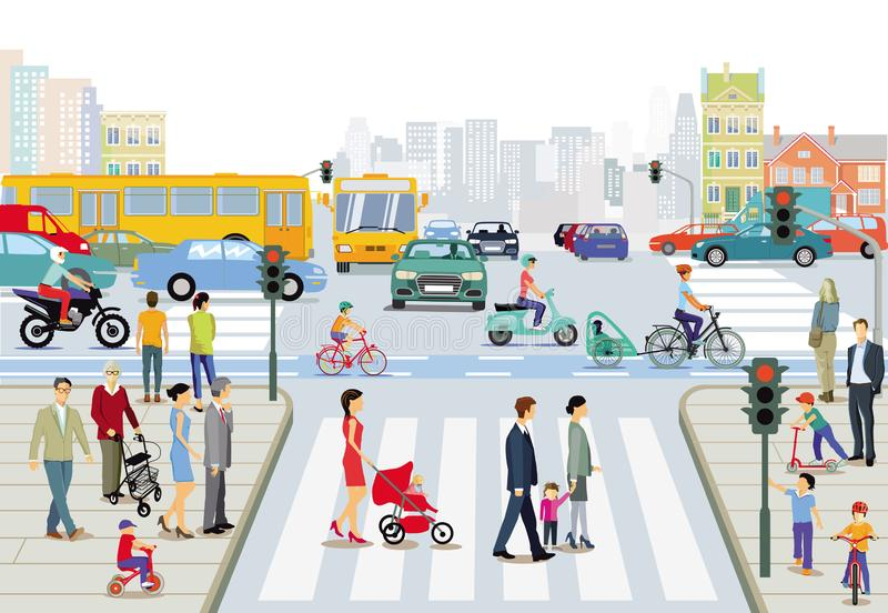 Transporte público com pedestres eciclista ilustração stock