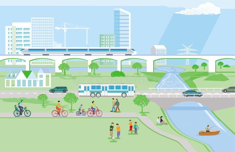 Transporte público com pedestres eciclista ilustração do vetor