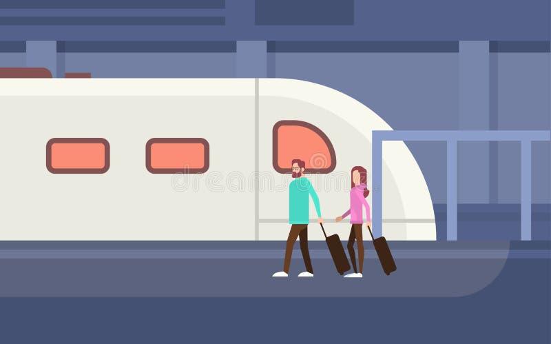 Transporte público da cidade moderna do bonde do metro dos passageiros dos povos, estação subterrânea da estrada de trilho ilustração do vetor
