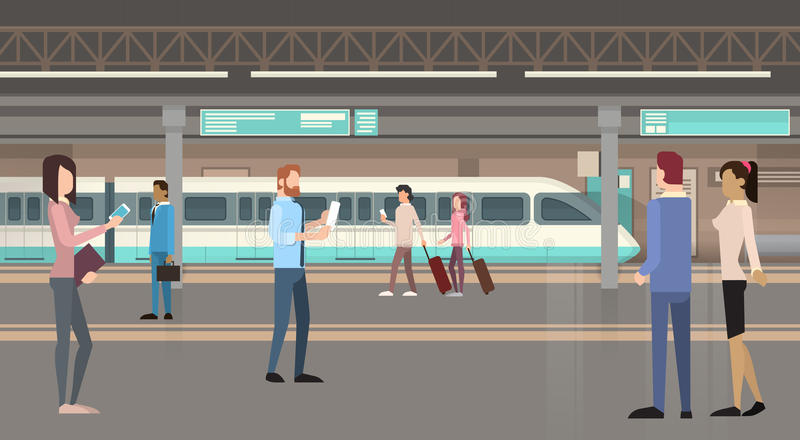 Transporte público da cidade moderna do bonde do metro dos passageiros dos povos, estação subterrânea da estrada de trilho ilustração royalty free