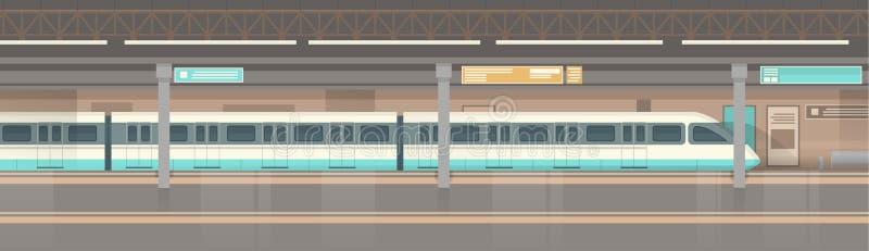 Transporte público da cidade moderna do bonde do metro, estação subterrânea da estrada de trilho ilustração stock