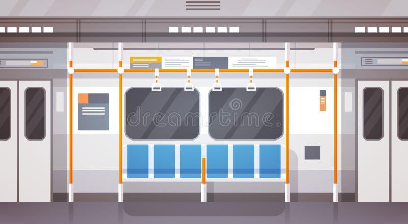 Transporte público da cidade moderna interior vazia do carro de metro, bonde subterrâneo ilustração stock