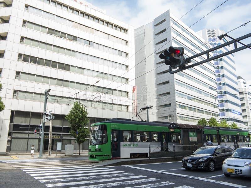 Transporte público do bonde em Hiroshima imagem de stock royalty free