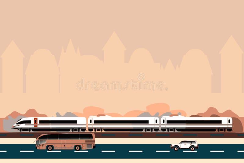 Transporte público em um fundo da silhueta da cidade ilustração stock