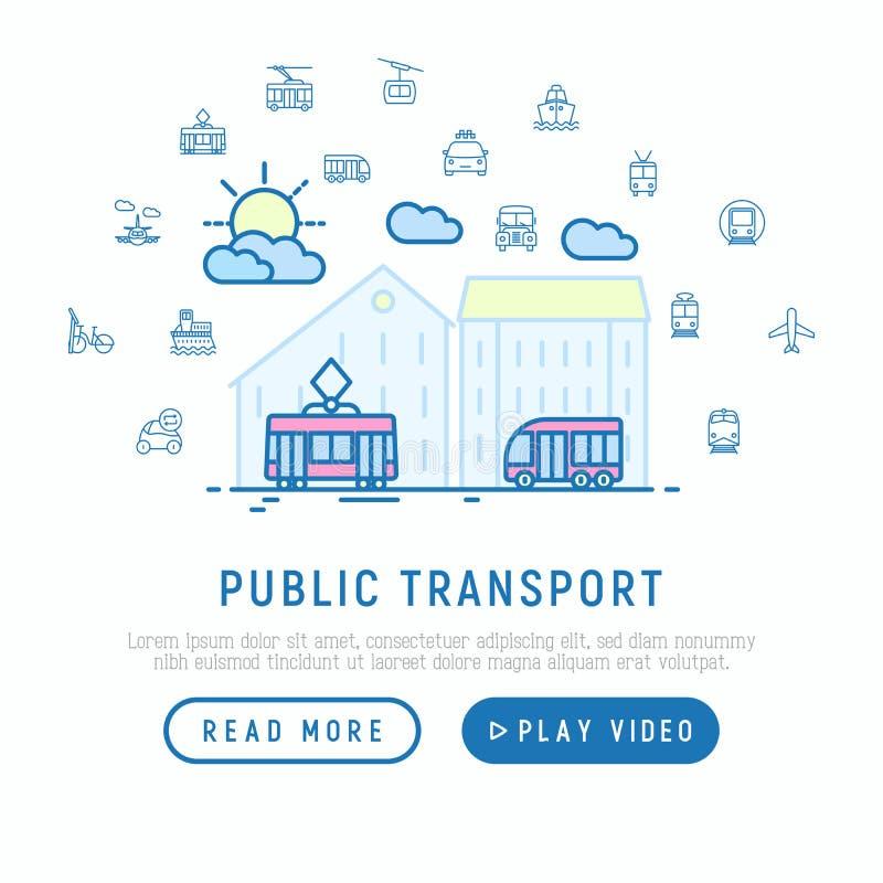Transporte público en concepto grande de la ciudad ilustración del vector