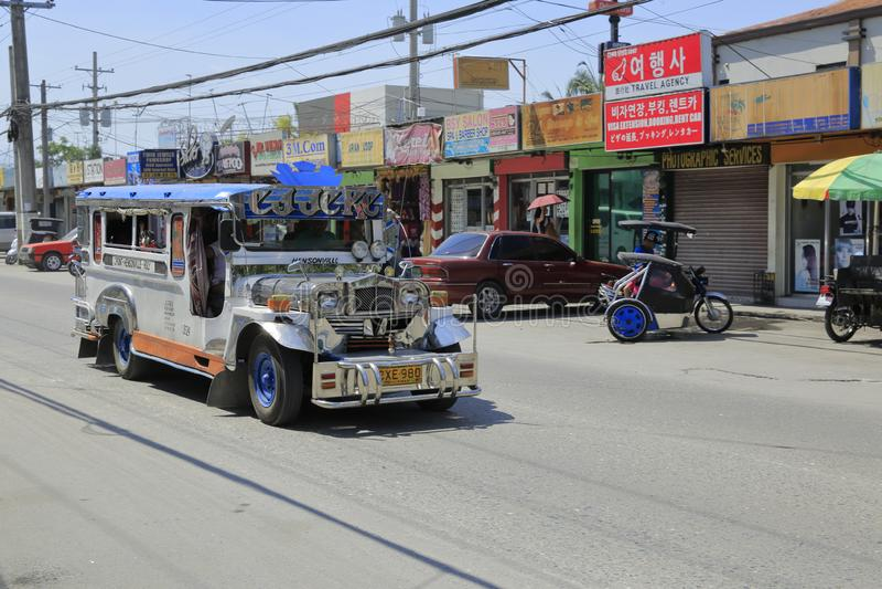 Transporte público na cidade de Angeles, Filipinas fotos de stock