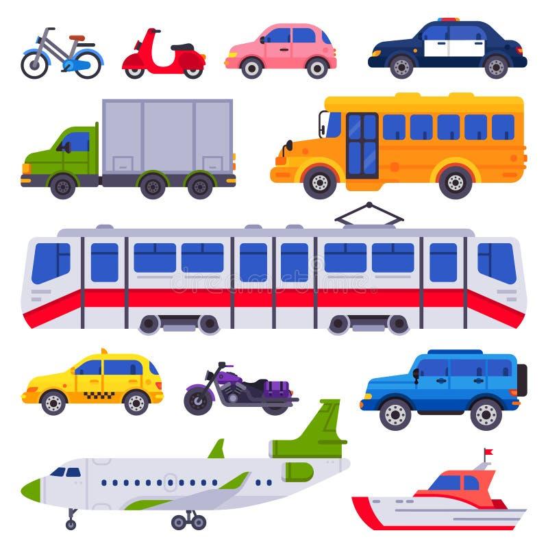 Transporte público O veículo do carro do táxi, o trem da cidade e o transportador urbano isolaram a coleção do vetor dos carros ilustração royalty free