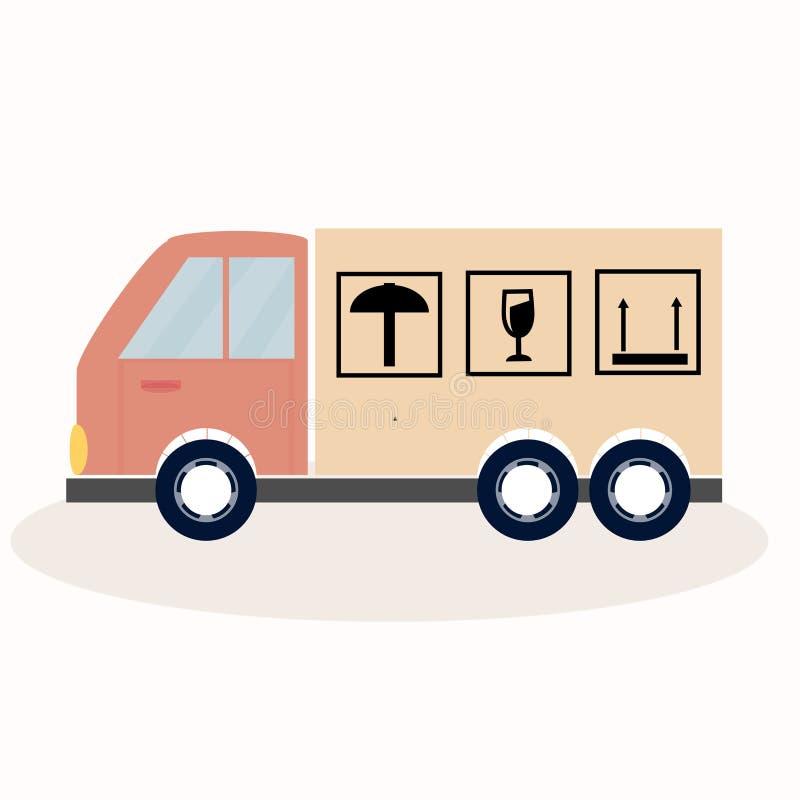 Transporte plano del camión del icono del vector con el paraguas ilustración del vector