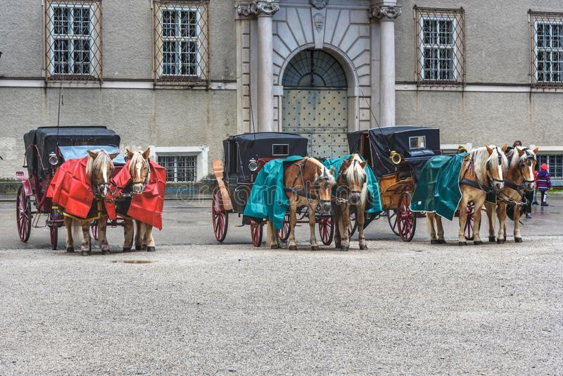 Transporte puxado por cavalos de Traditonal Fiaker na rua na cidade velha de Salzburg ?ustria fotografia de stock royalty free