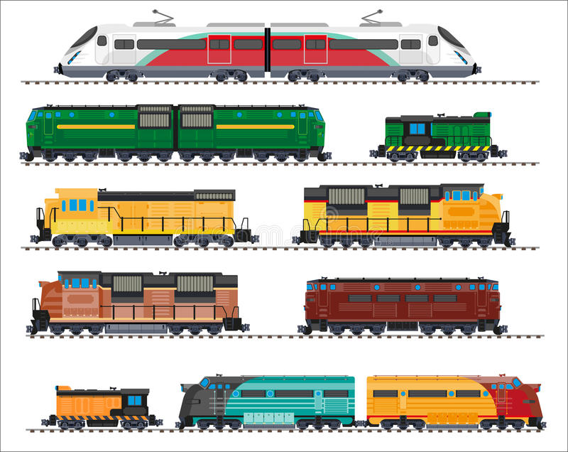 Transporte Railway: locomotivas, trens, vagões ilustração royalty free