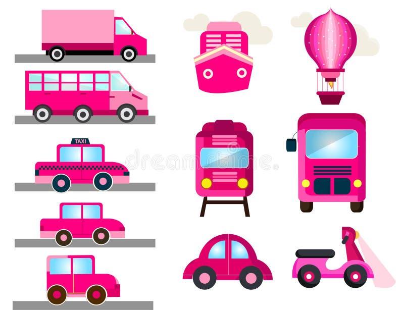 Transporte rosado para el transporte femenino de las muchachas ilustración del vector