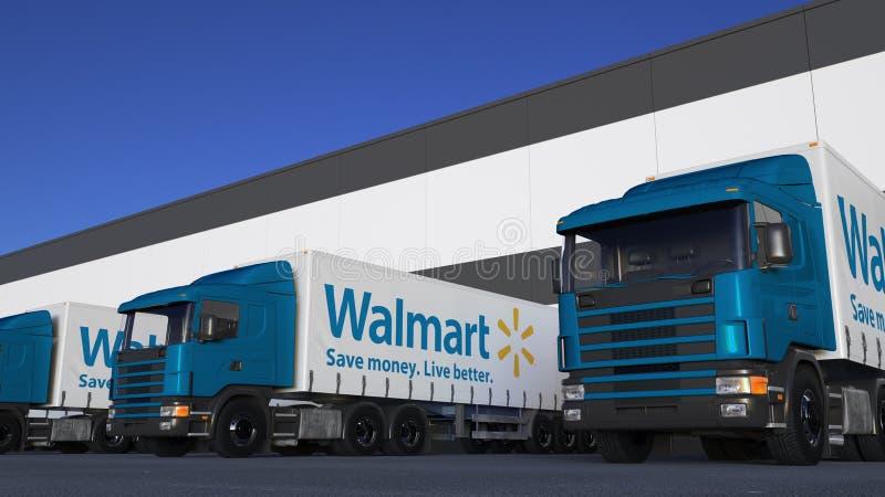 Transporte semi caminhões com carga ou descarregamento do logotipo de Walmart na doca do armazém Rendição 3D editorial ilustração do vetor