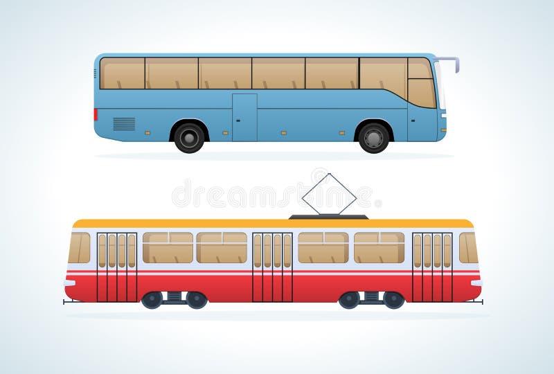 Transporte urbano moderno público del pasajero: autobús interurbano del tramand municipal ilustración del vector