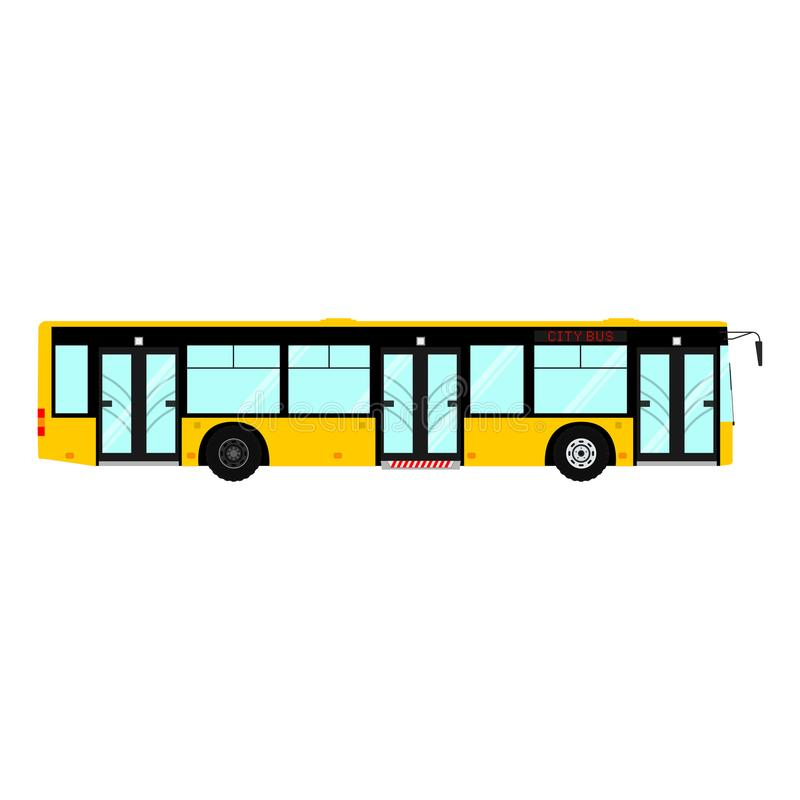 Transporte urbano moderno público del pasajero del vector: autobús municipal Transporte de la ciudad de la vista lateral En el fo libre illustration