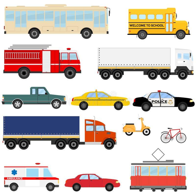 Transporte urbano, transporte público Un sistema de coches y de autobuses libre illustration