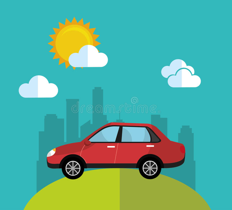 Transporte urbano y vehículos ilustración del vector