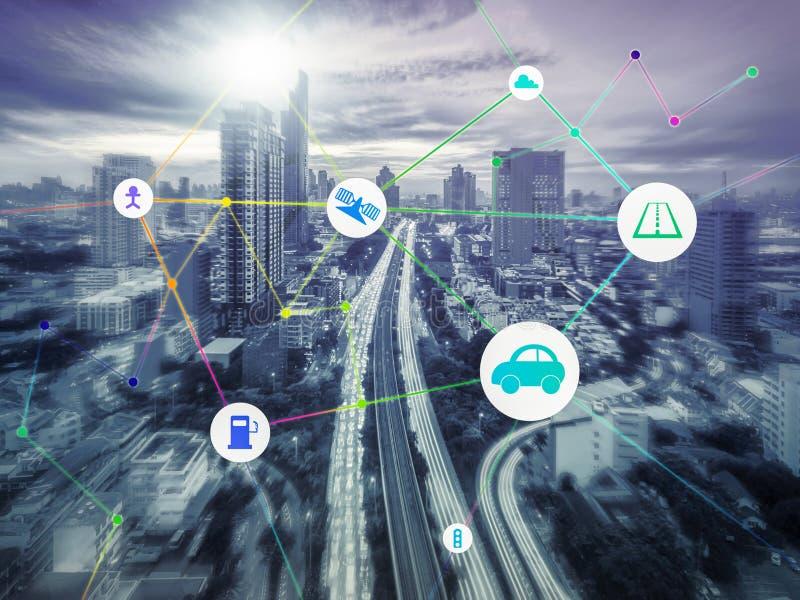 Transporte y comunicación y Internet en moderno, abstra foto de archivo libre de regalías