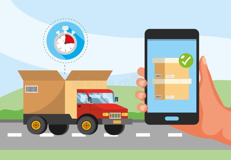Transporte y mano del camión con servicio y el cronómetro de la caja del smartphone libre illustration