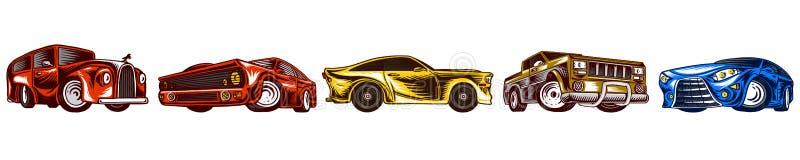Transportes de los coches y del vintage del m?sculo para el logotipo y las etiquetas Fije de servicio auto retro de la escuela vi stock de ilustración