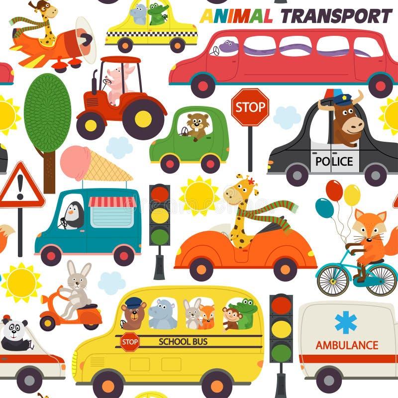 Transportes inconsútiles del modelo con los animales ilustración del vector