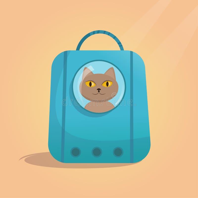 Transporteur d'animal familier pour le vecteur de chat illustration stock