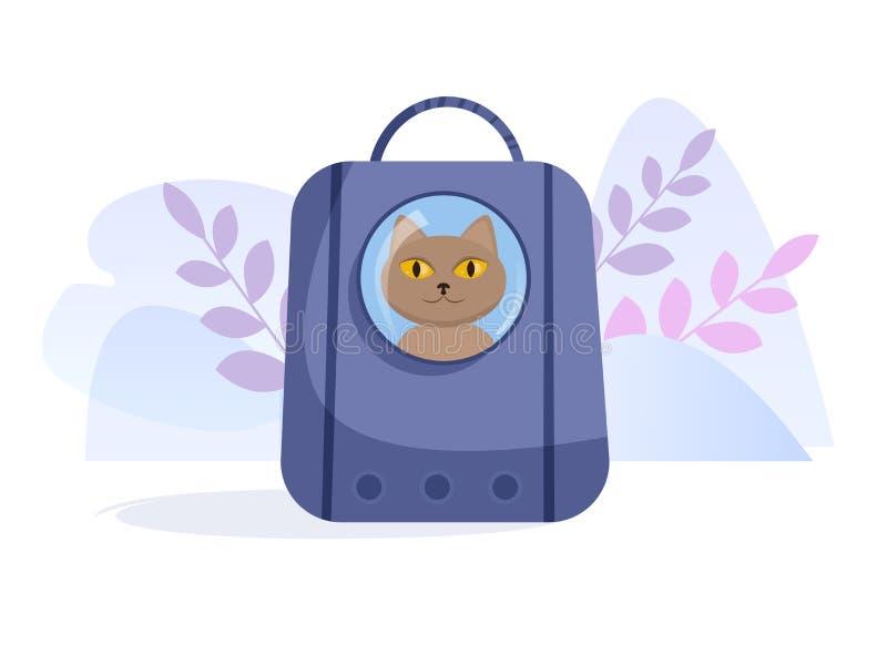 Transporteur d'animal familier pour le vecteur de chat cartoon Art d'isolement sur le fond blanc plat illustration de vecteur
