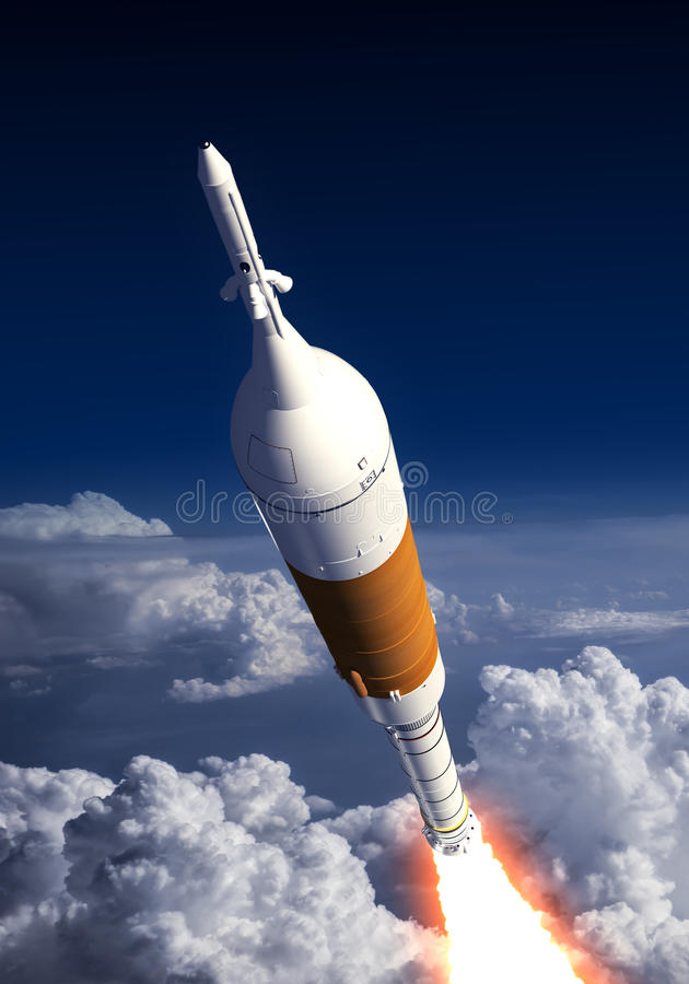 Transporteur Rocket Launch In The Clouds illustration stock