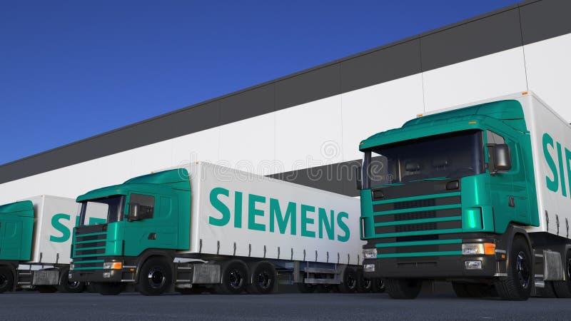 Transportez semi les camions avec le chargement ou le déchargement de logo de Siemens au dock d'entrepôt Rendu 3D éditorial illustration de vecteur