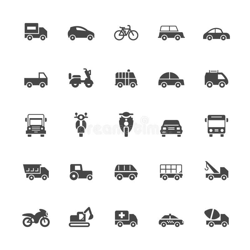 Transportikonen auf weißem Hintergrund lizenzfreie abbildung