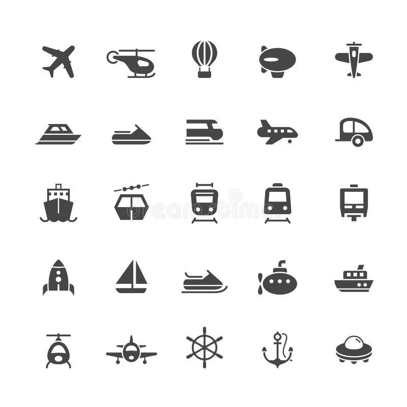 Transportikonen auf weißem Hintergrund stock abbildung