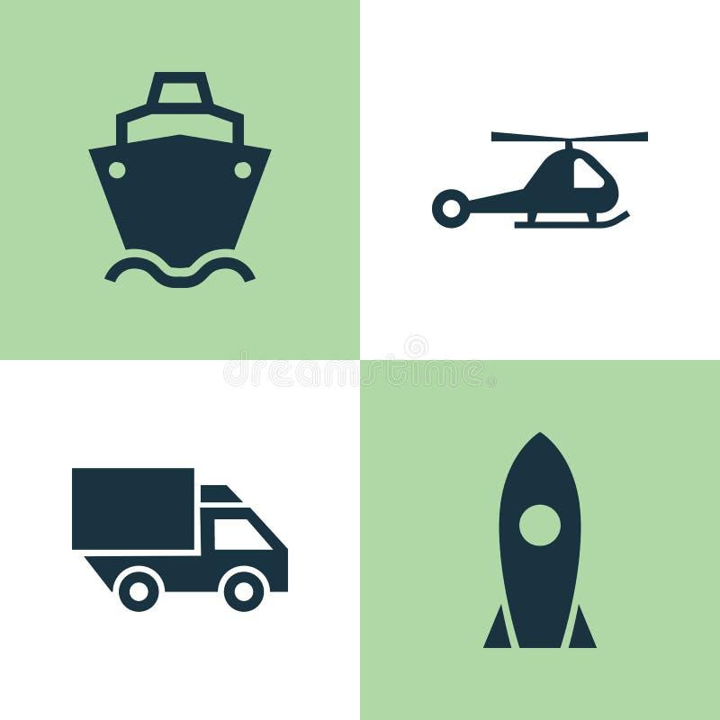 Transportikonen eingestellt Sammlung des Raumschiffes, Zerhacker, Van And Other Elements Schließt auch Symbole wie Zerhacker ein stock abbildung