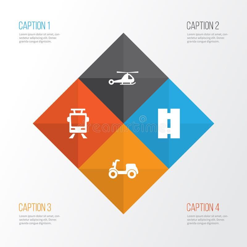 Transportikonen eingestellt Sammlung Skooter, Zerhacker, Straßenbahn und andere Elemente Schließt auch Symbole wie ein vektor abbildung