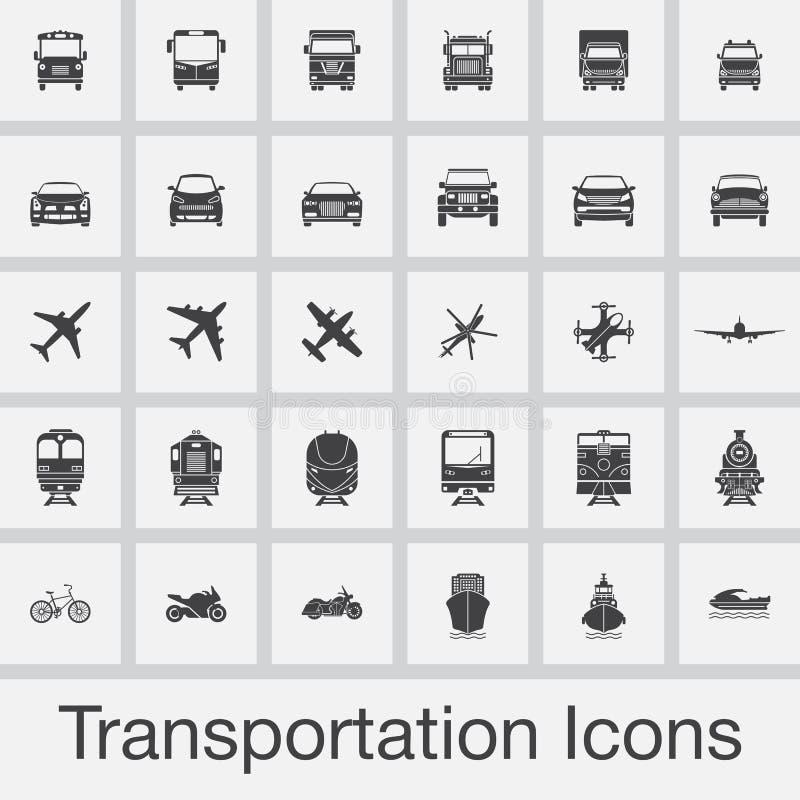 Transportikonen stellten Vektor lokalisiert auf grauem Hintergrund ein stock abbildung