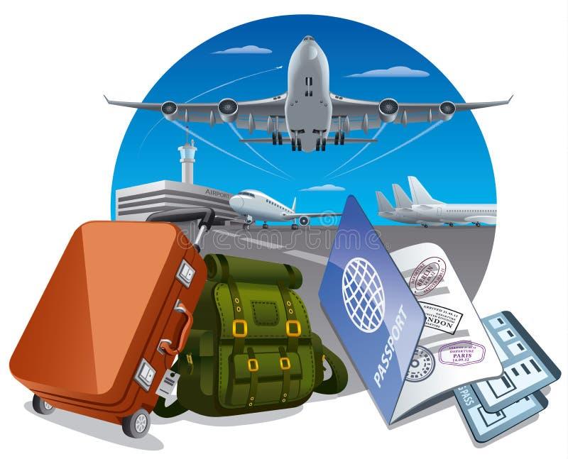 Transports aériens et voyage illustration libre de droits