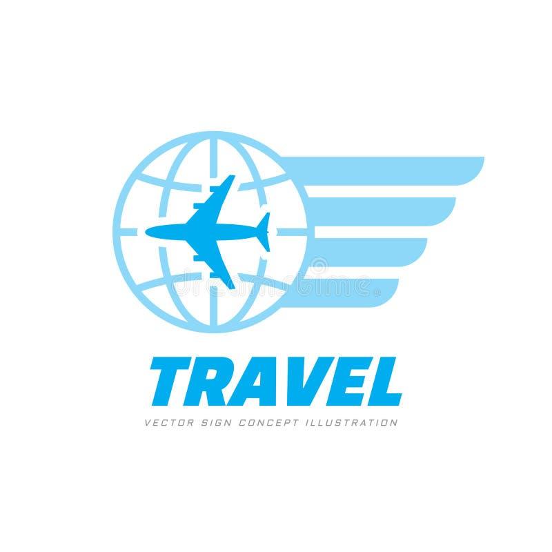 Transports aériens - illustration de vecteur de calibre de logo d'affaires de concept Signe créatif d'avion, de globe et d'ailes  illustration libre de droits