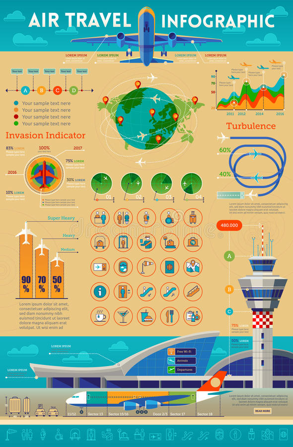 Transports aériens infographic illustration stock