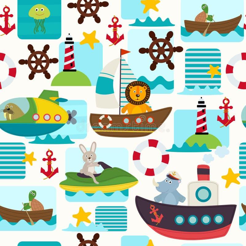 Transports maritimes sans couture de modèle avec des animaux illustration libre de droits