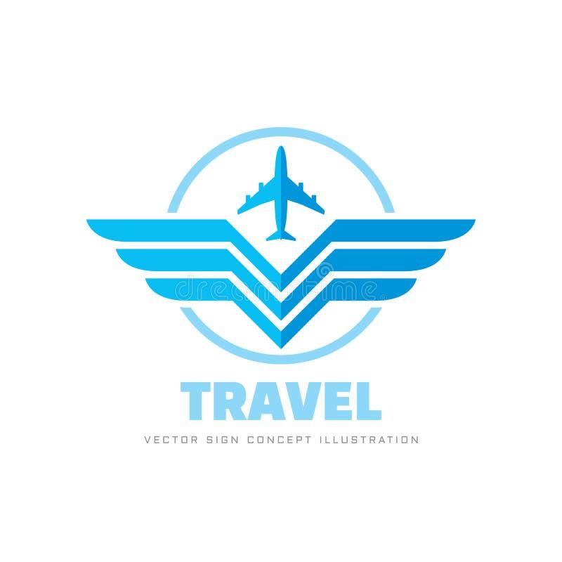 Transports a?riens - illustration de vecteur de calibre de logo d'affaires de concept Signe cr?atif d'avion et d'ailes ?l?ments d illustration de vecteur