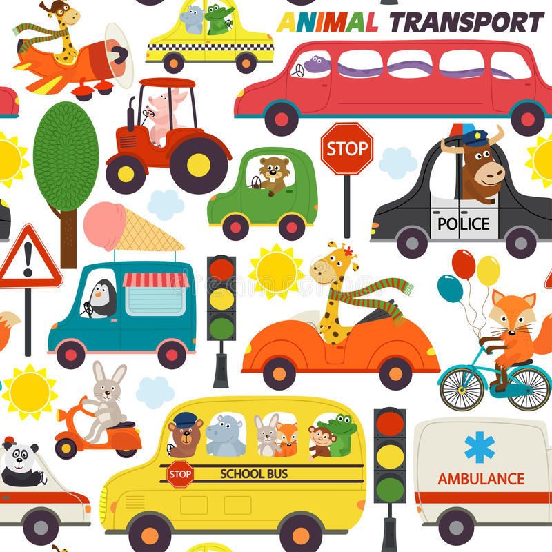 Transports sans couture de modèle avec des animaux illustration de vecteur