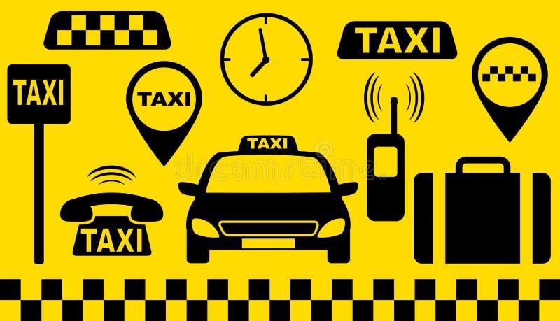 Transportseten av taxar objekt stock illustrationer