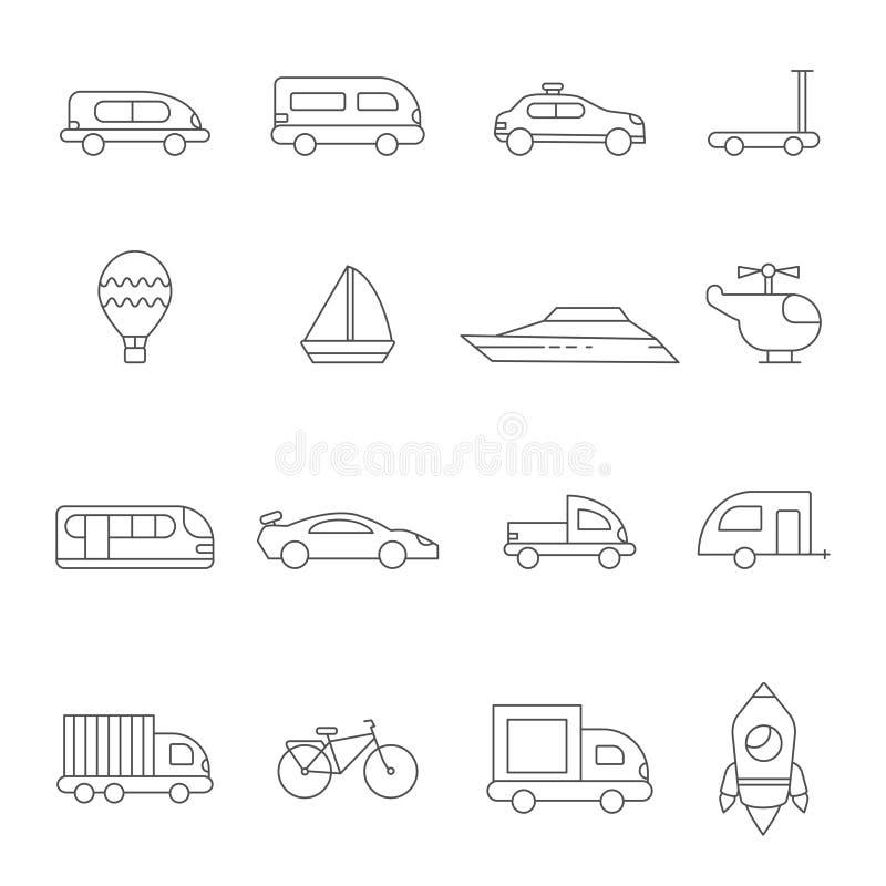 Transportsymbole linear Illustrationen des verschiedenen Transportes vektor abbildung