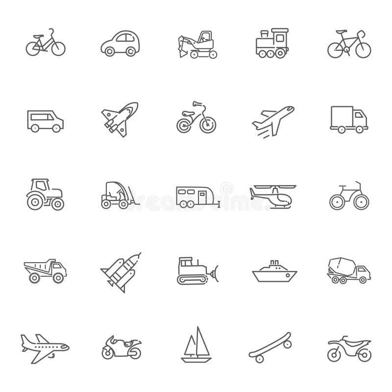 Transportsymboler, tunn linje design stock illustrationer