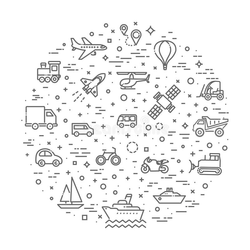 Transportsymboler, tunn linje design royaltyfri illustrationer
