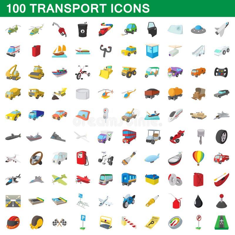100 transportsymboler uppsättning, tecknad filmstil stock illustrationer