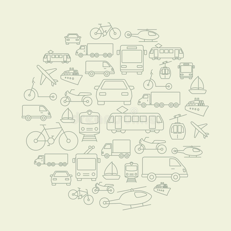 Transportsymbolsbakgrund royaltyfri illustrationer