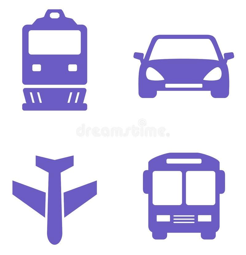 Transportsymbolsuppsättning med drevet, nivån, bilen och bussen stock illustrationer