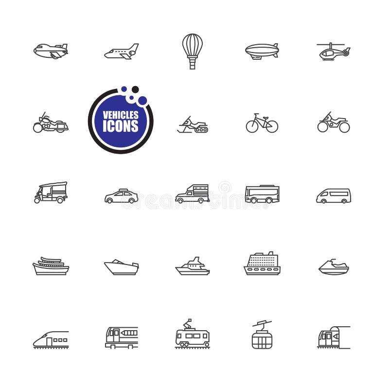 Transportu i pojazdów ikony royalty ilustracja