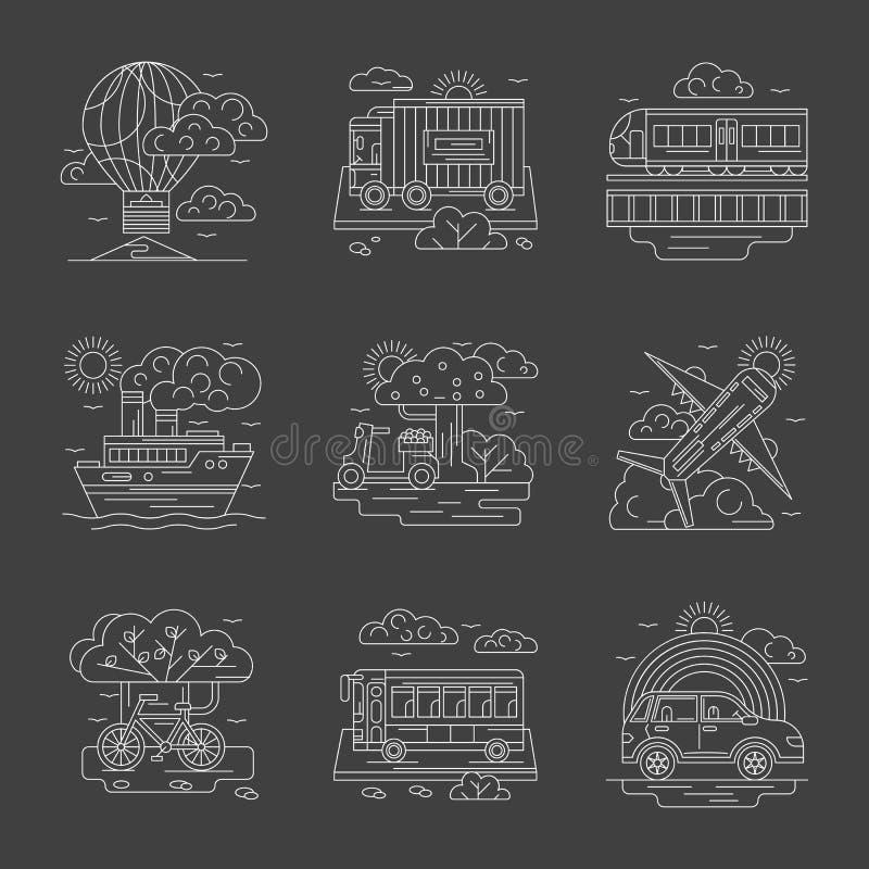 Transportu i pojazdów linii szczegółowe ikony royalty ilustracja