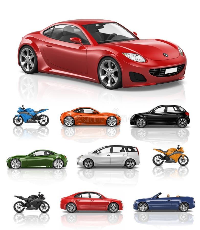 Transportu pojazdu motocyklu występu Samochodowy pojęcie ilustracja wektor