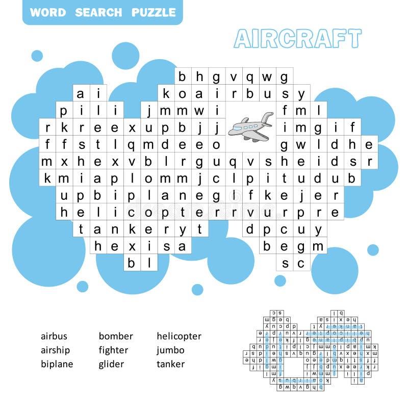 Transportu powietrznego crossword gra Rewizji s??w gra z odpowiedzi? dla dzieci ilustracji